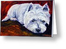 Fire Glow - West Highland White Terrier Greeting Card by Lyn Cook