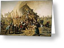 Fire In A Haystack, 1856 Greeting Card