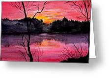 Fire In The Sky    Lake Arrowhead Maine Greeting Card