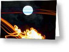 Fire Moon Abstract Moonlit Night Greeting Card