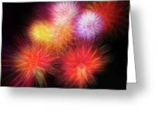 Fire Mums Floral - Fireworks Collage Greeting Card