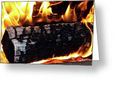 Fire On Wood Greeting Card