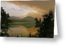 Fire Over St Mary Lake Greeting Card