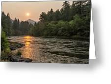 Fire Sunrise On Mckenzie River Greeting Card