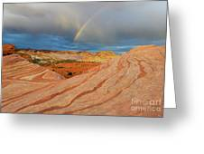 Fire Wave Rainbow Dawn Greeting Card