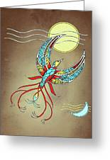 Firebird With Sun And Moon Greeting Card