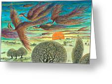 Firebirds At Sunset Greeting Card