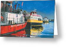 Fireboat And Ferries Greeting Card by Dominic White