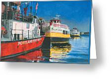 Fireboat And Ferries Greeting Card