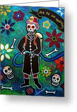 Firefighter Day Of The Dead Greeting Card