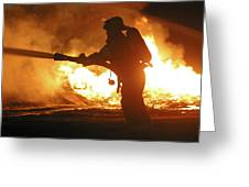 Firefighter In Silhouette Greeting Card
