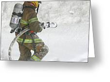 Firefighter In The Snow Greeting Card