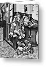 Fireman - Always Ready - Black And White Greeting Card