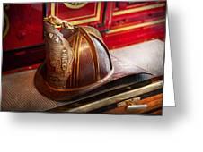Fireman - Hat - Commander  Greeting Card