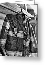 Fireman - Saftey Jacket Black And White Greeting Card