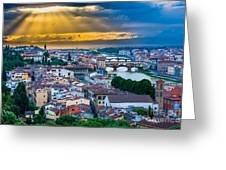 Firenze Sunset Greeting Card by Inge Johnsson