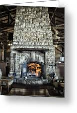 Fireplace At The Lodge Vertical Greeting Card