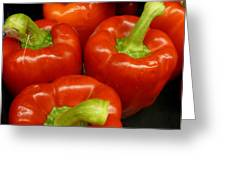 Firery Red Peppers Greeting Card