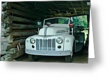 Firetruck In A Barn Greeting Card