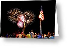 Fireworks And The Flag Greeting Card