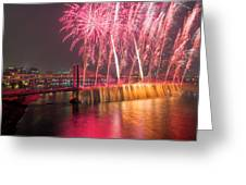 Fireworks And Waterfall Greeting Card
