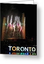 Fireworks At Toronto City Hall Greeting Card