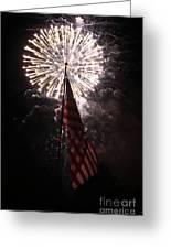 Fireworks Behind American Flag Greeting Card