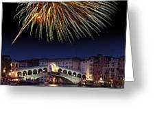 Fireworks Display, Venice Greeting Card