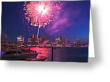 Fireworks Over The Boston Skyline Boston Harbor Illumination Greeting Card