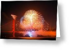 Fireworks Over The Golden Gate Bridge Greeting Card