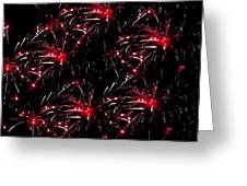 Fireworks - Red Bursts Greeting Card