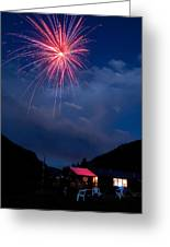 Fireworks Show In The Mountains Greeting Card