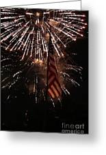 Fireworks With Flag Greeting Card by Alan Look