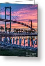 Firey Sunrise Vertical Waterfront Greeting Card