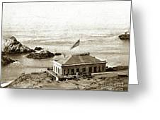 First Cliff House  View Of Ropes From The Cliff House To Seal Rock Circa 1865 Greeting Card