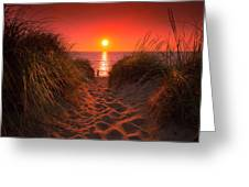 First Encouter Beach Sunset September 2017 Greeting Card