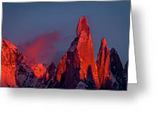 First Light On Cerro Torre - Patagonia Greeting Card