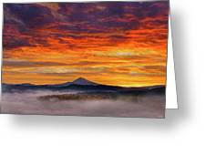 First Light On Mount Hood During Sunrise Greeting Card