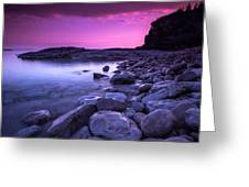 First Light On The Rocks At Indian Head Cove Greeting Card