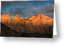 First Light On The Towers - Zion N.p.  Greeting Card