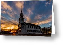 First Parish Church In Milton Massachusetts Sunset Greeting Card