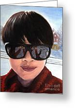 First Snow - Self-portrait In Oil Greeting Card