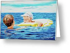 First Swimming - Nadar Primero Greeting Card