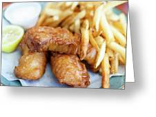 Fish And Chips On A Plate Greeting Card