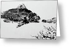Fish Print On Butcher Paper Greeting Card