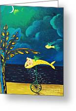 Fish Riding A Unicycle Greeting Card
