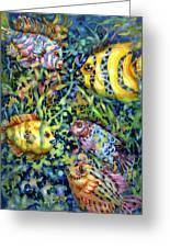 Fish Tales Iv Greeting Card by Ann  Nicholson