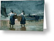 Fisher Girls By The Sea Greeting Card by Winslow Homer