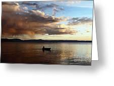 Fisherman At Sunset On Lake Titicaca Greeting Card