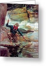 Fisherman By Stream Greeting Card